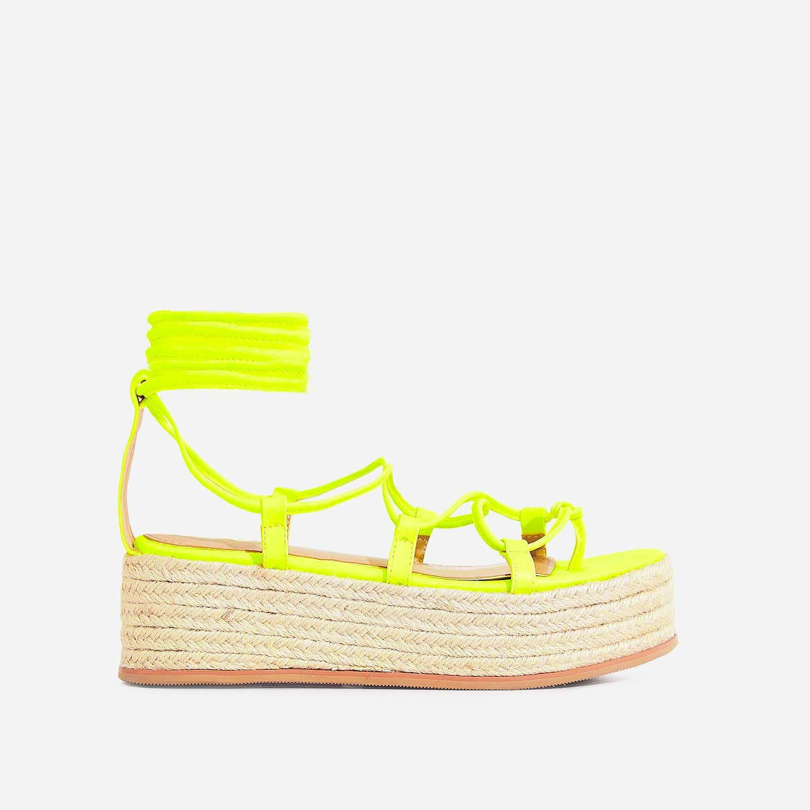 Sophina Lace Up Espadrille Flatform Sandal In Neon Yellow Faux Leather