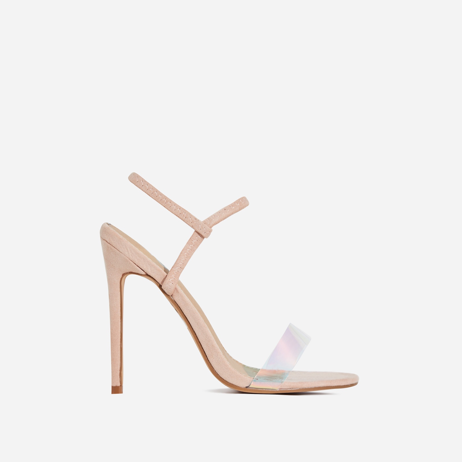 Soul Perspex Square Toe Heel In Nude Faux Suede