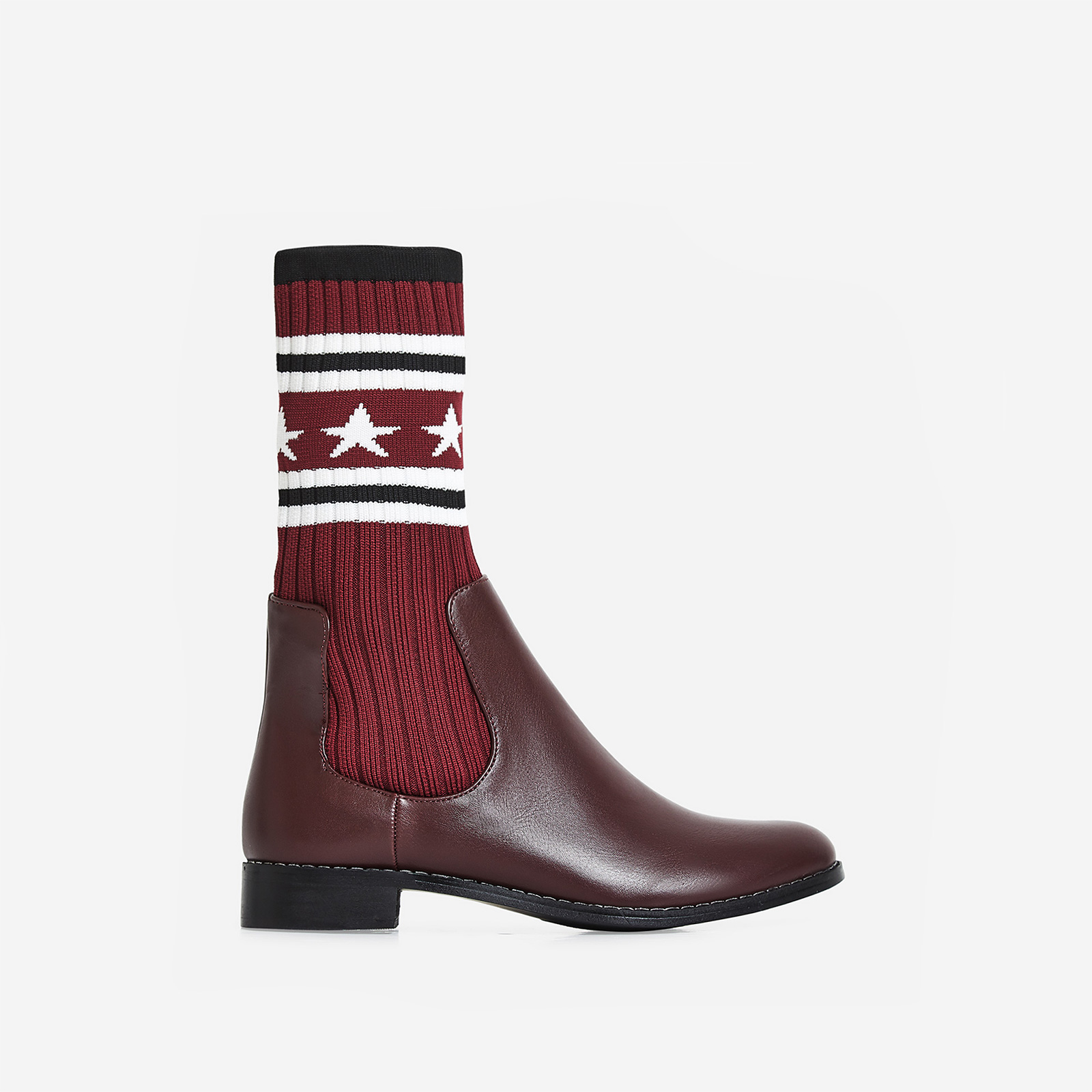 Star-Struck Knitted Ankle Boot In Burgundy Faux Leather