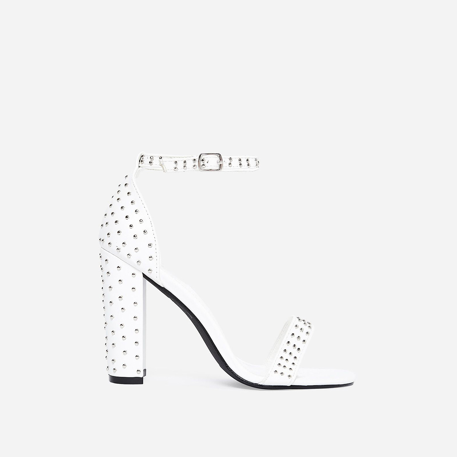 Stellar Studded Detail Block Heel In White Faux Leather