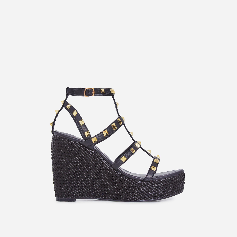 Summer Studded Detail Espadrille Wedge Platform Heel In Black Faux Leather