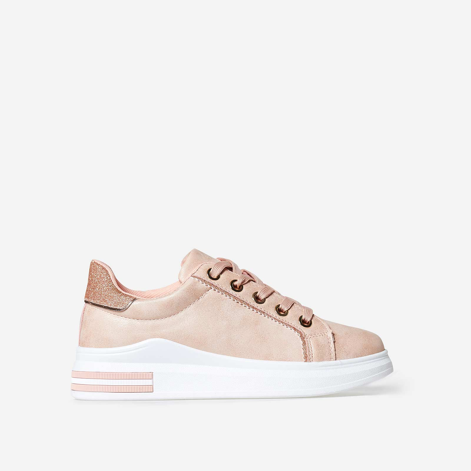 Domanique Glitter Heel Tab Trainer In Pink Faux Leather