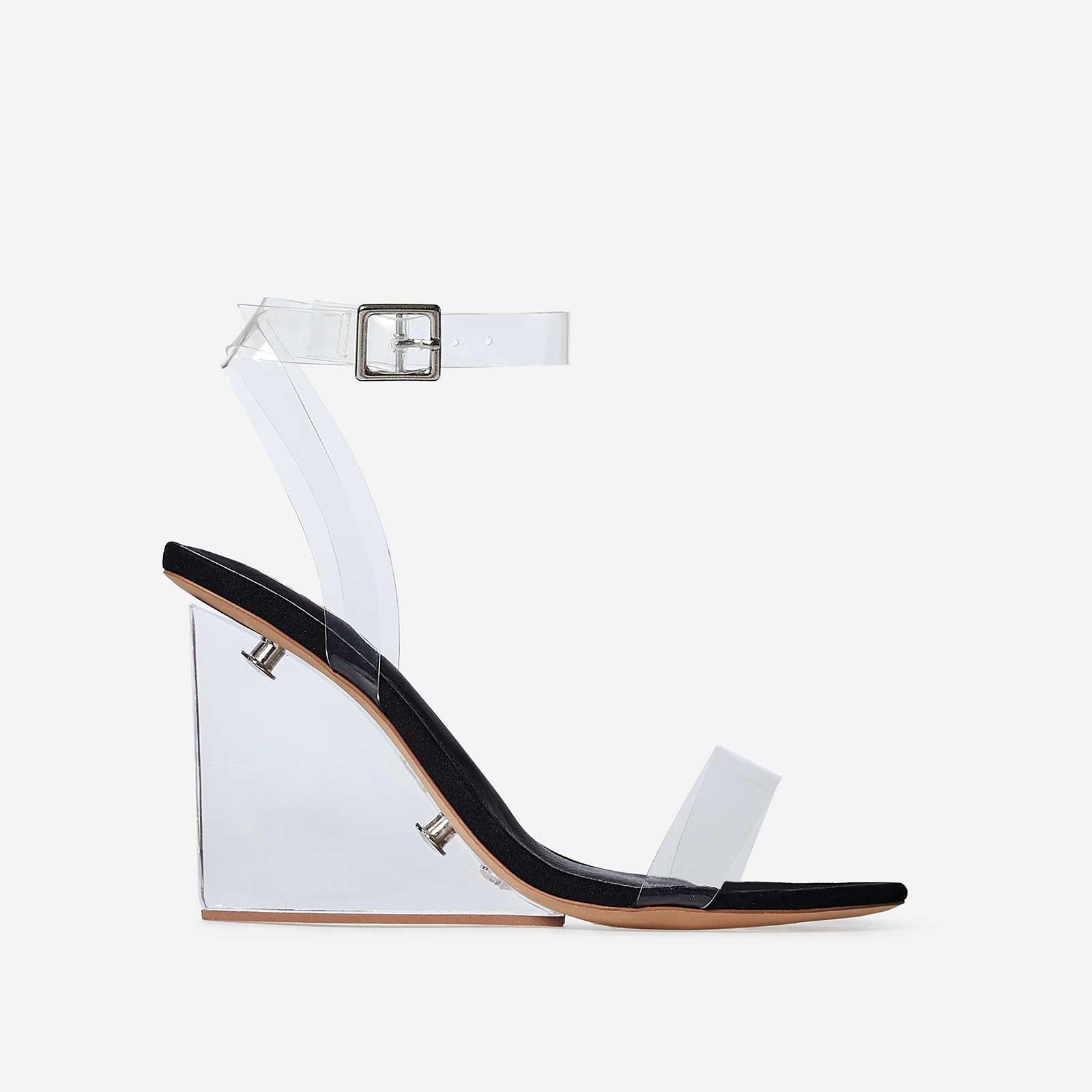Thea Perspex Wedge Heel In Black Faux Suede