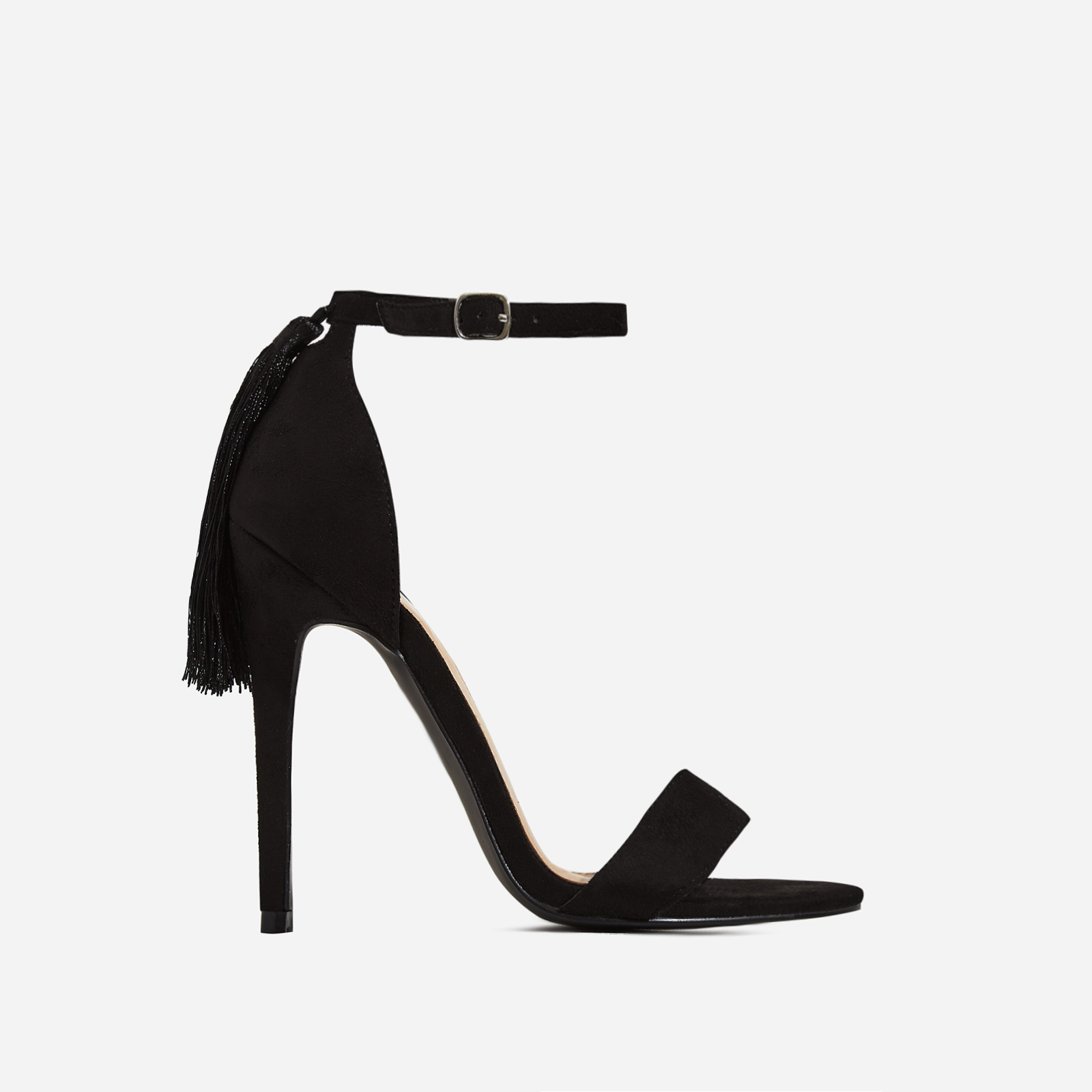 Tia Tassel Detail Barely There Heel In Black Faux Suede