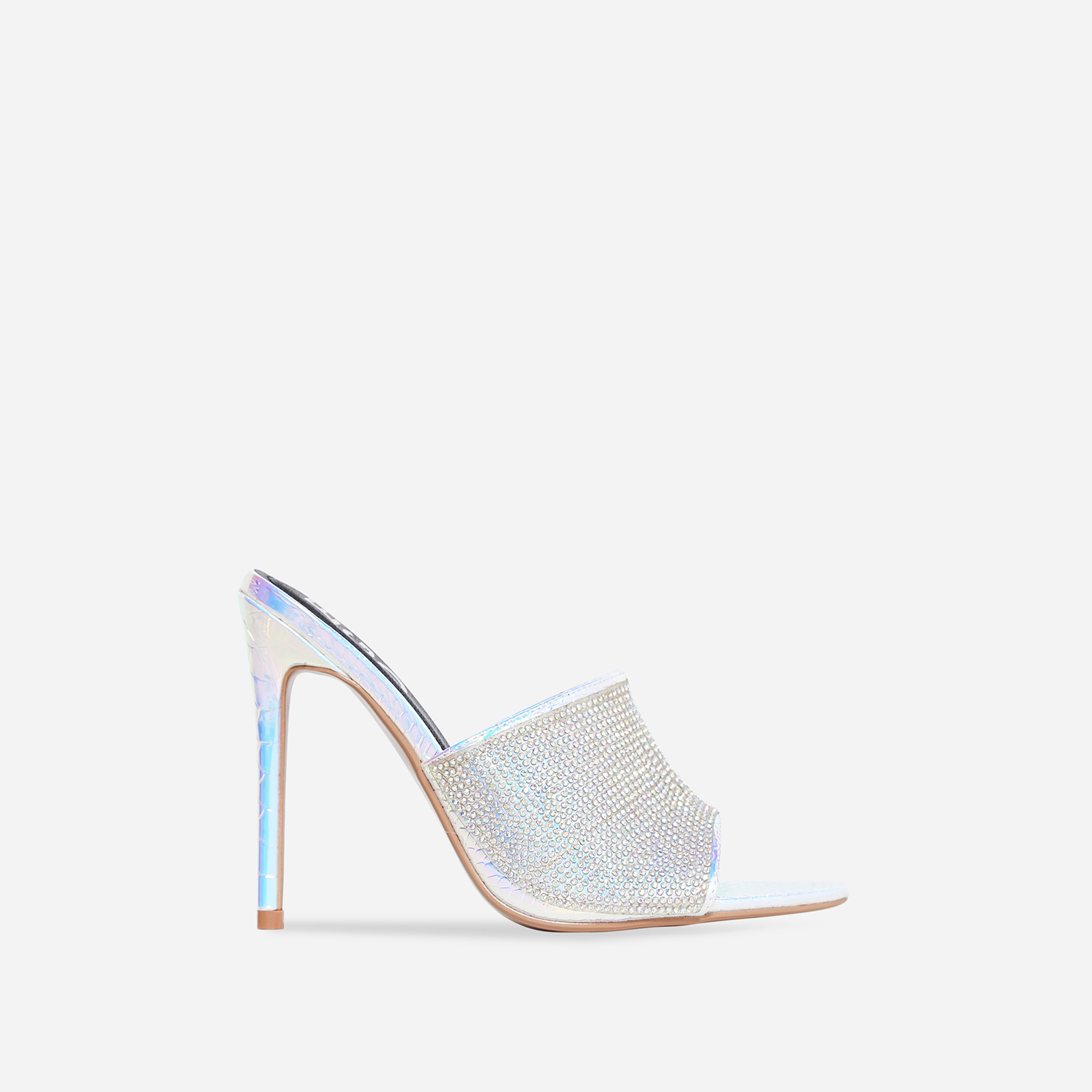 Tiffany Diamante Pointed Peep Toe Mule In Silver Snake Print Faux Leather