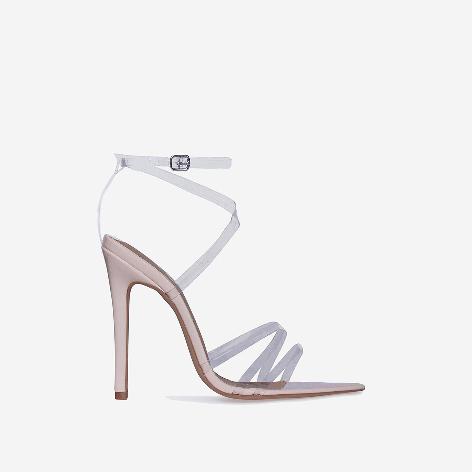 Tiffany Pointed Perspex Barely There Heel In Nude Patent