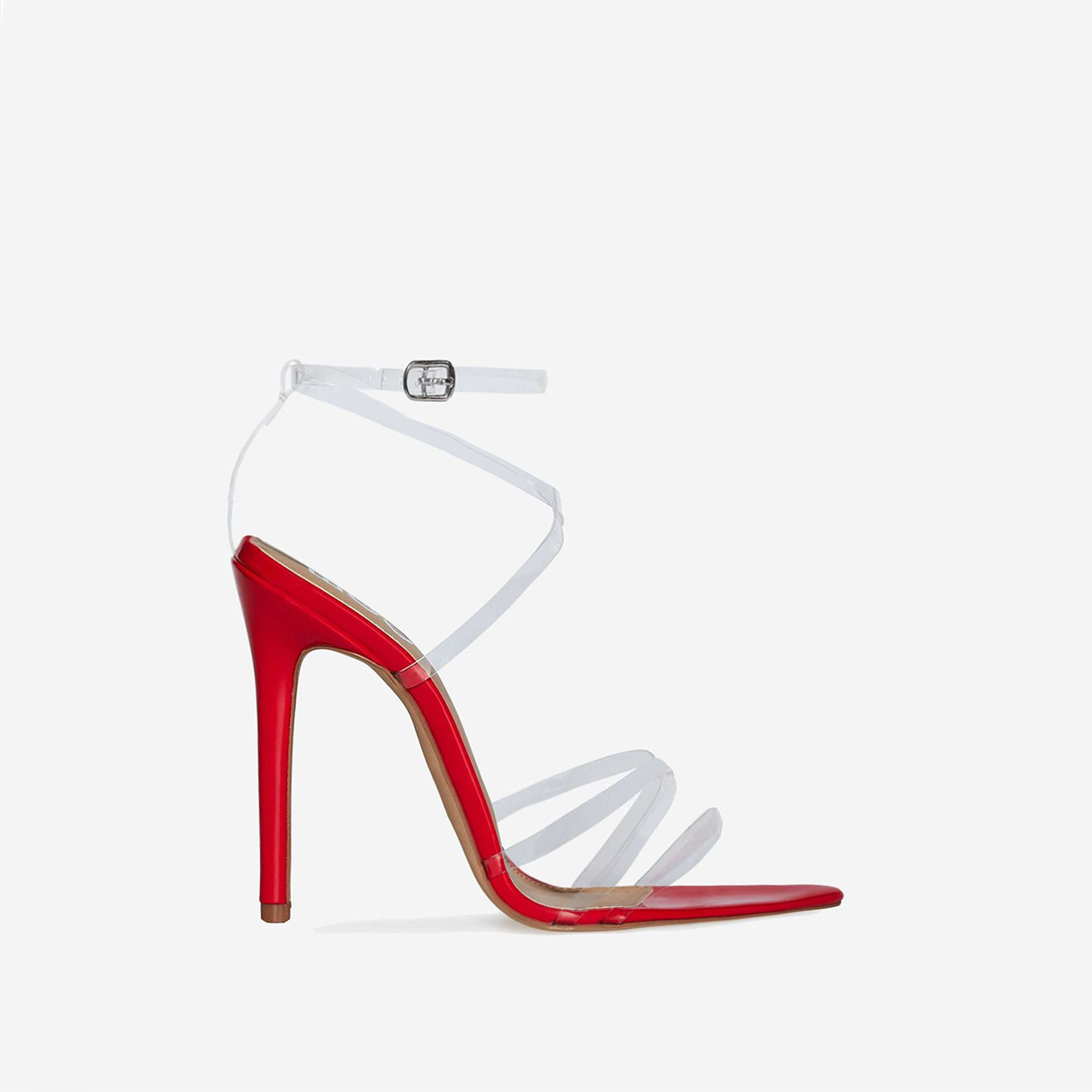 Tiffany Pointed Perspex Barely There Heel In Red Patent