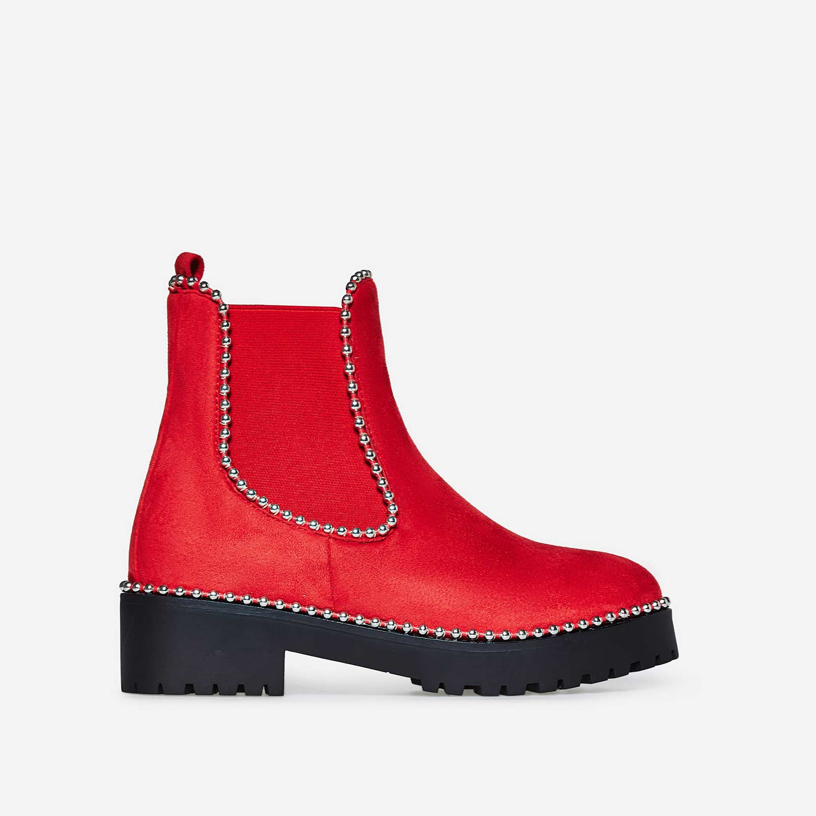 Tilda Studded Detail Ankle Boot In Red Faux Suede