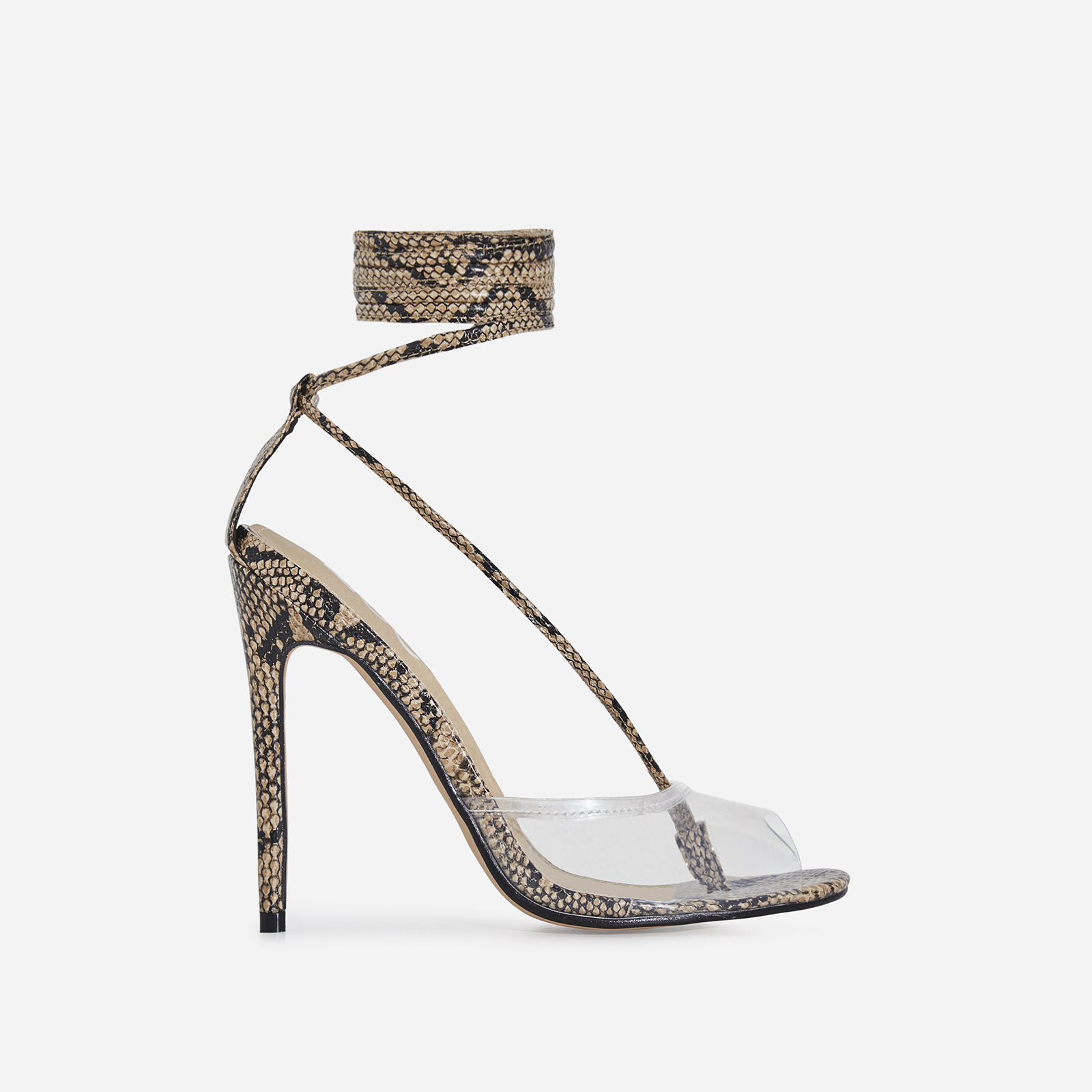Tinder Lace Up Perspex Heel In Nude Snake Print Faux Leather