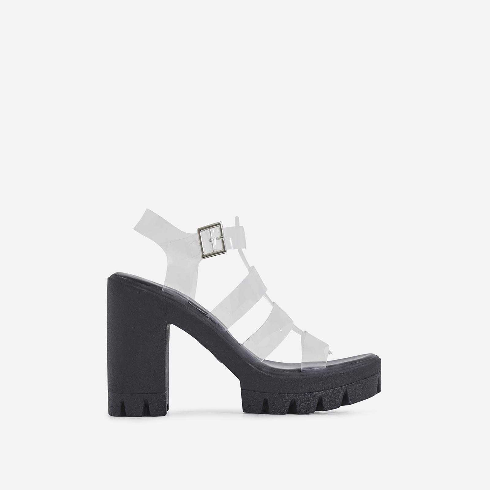 Toffee Perspex Platform Block Heel In Black