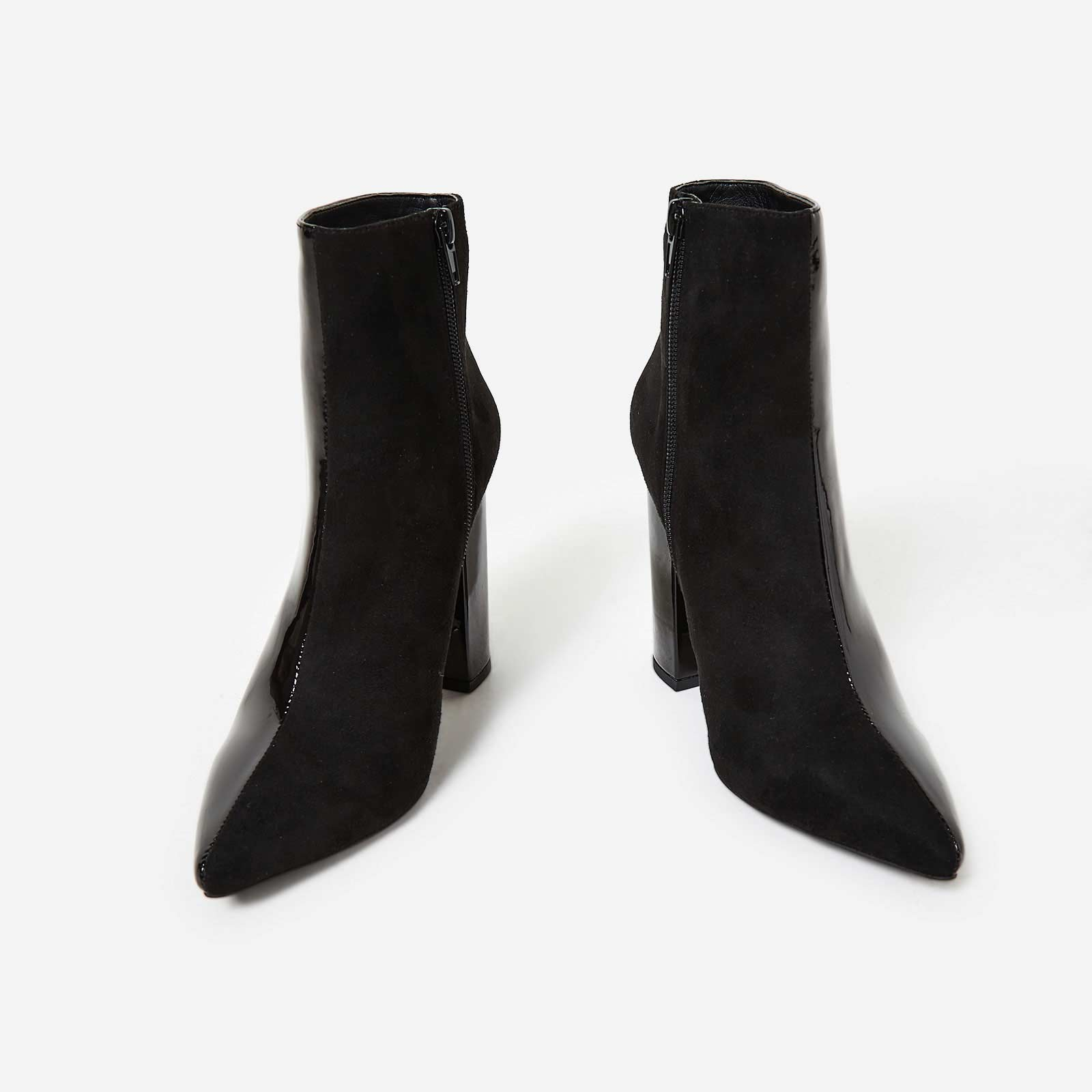 Toro Two Tone Ankle Boot In Black Patent And Faux Suede