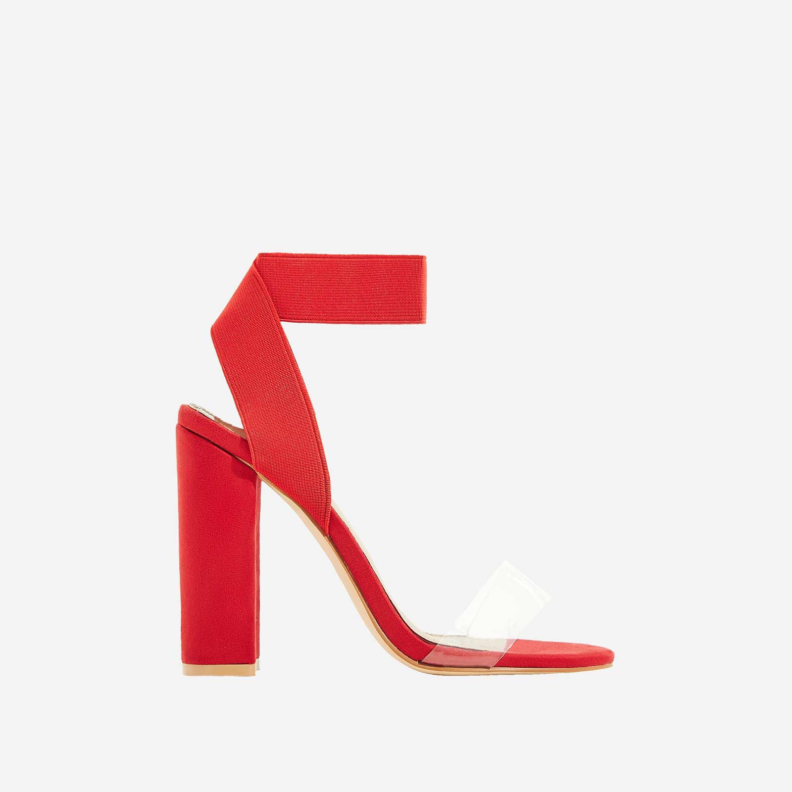 Tory Perspex Detail Block Heel In Red Faux Suede