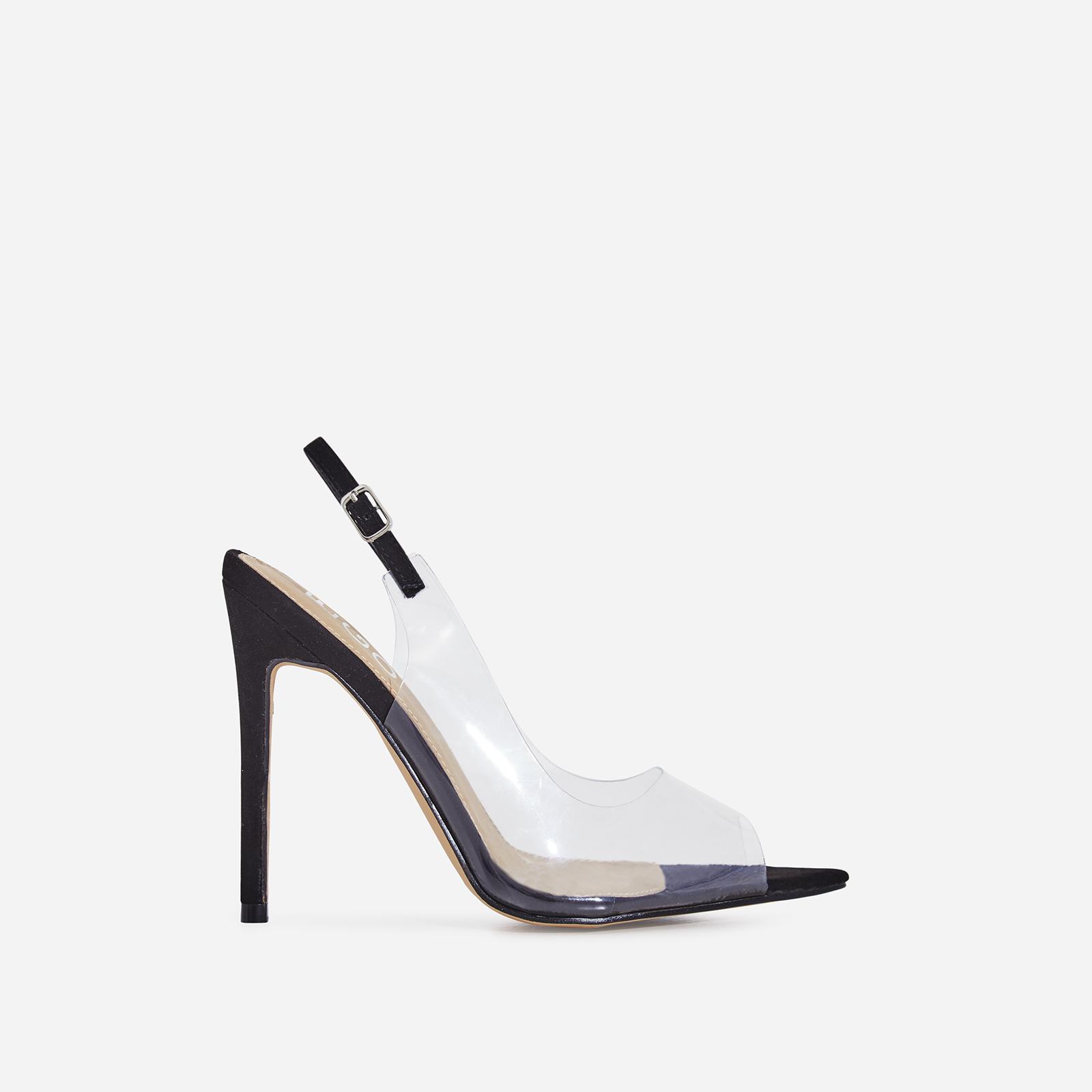 Tracey Peep Toe Perspex Heel In Black Faux Suede