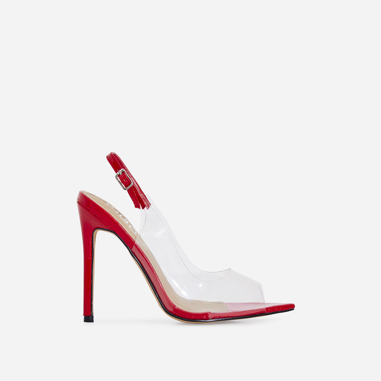 Tracey Peep Toe Perspex Heel In Red Patent