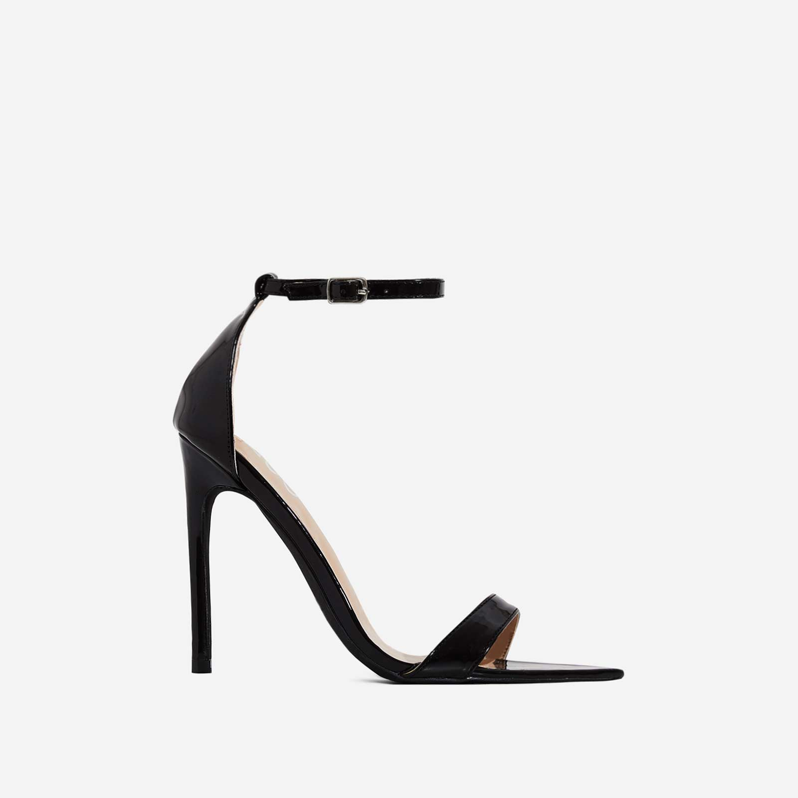 Trey Pointed Barely There Heel In Black Patent