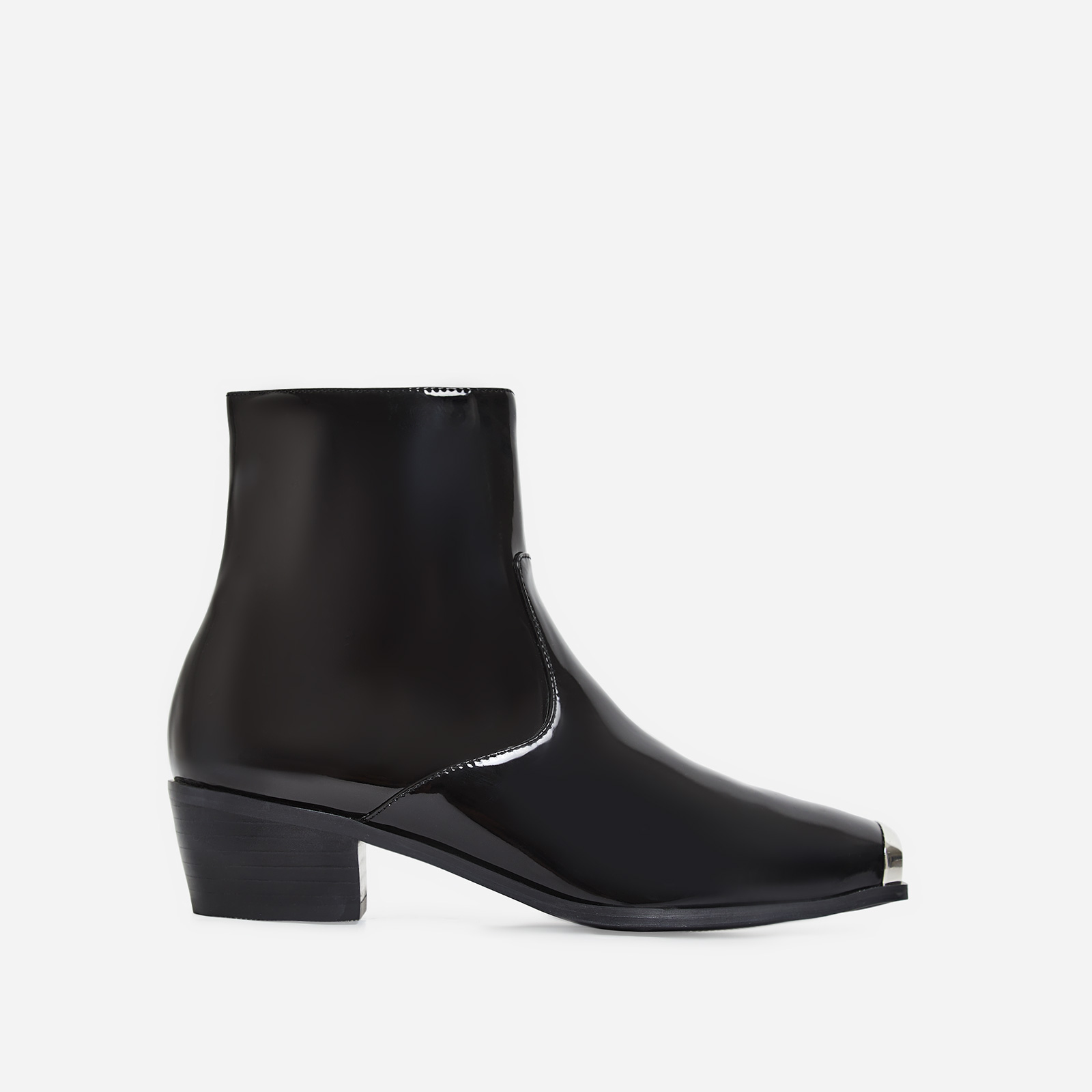 Tris Toe Cap Western Ankle Boot In Black Patent