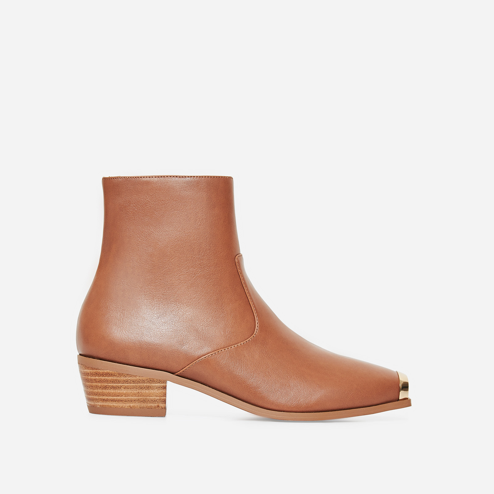 Tris Toe Cap Western Ankle Boot In Tan Faux Leather