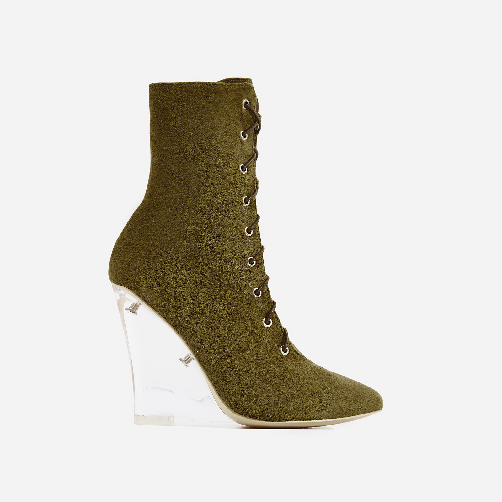 Turnaround Perspex Wedge Lace Up Ankle Boot In Khaki Faux Suede