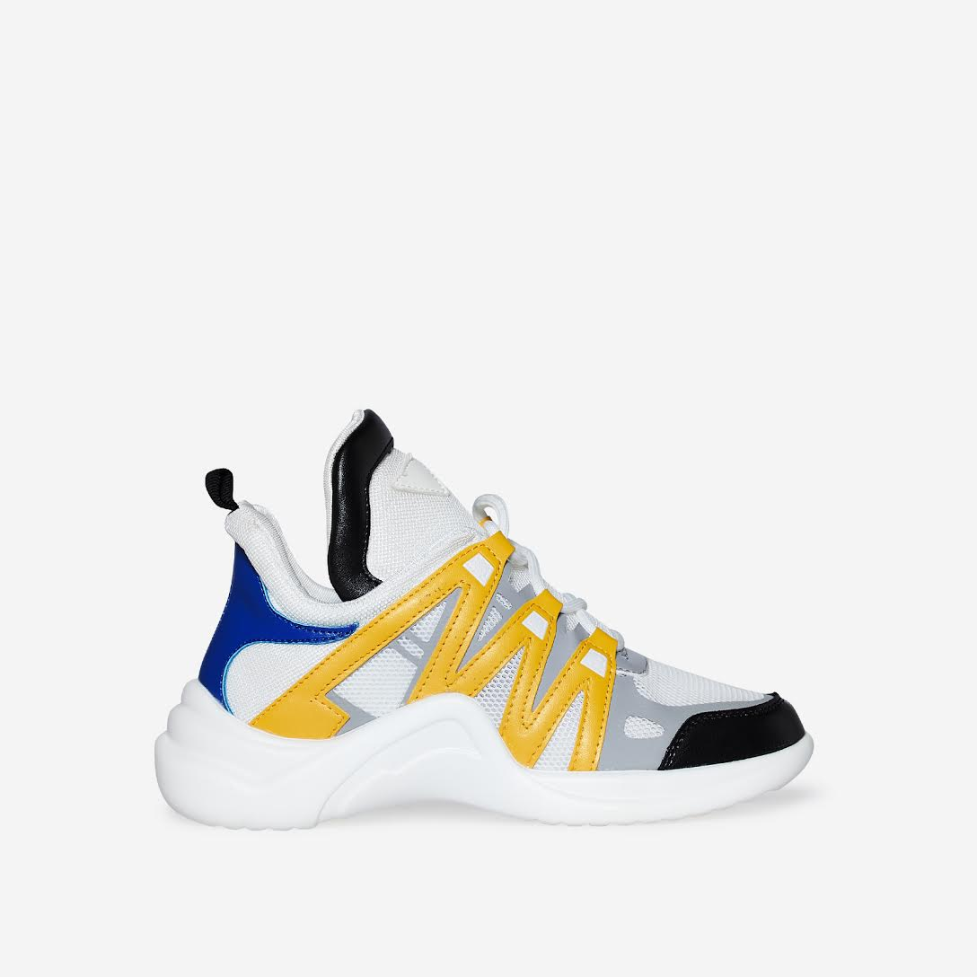 Nikki Wave Sole Trainer In White and Yellow