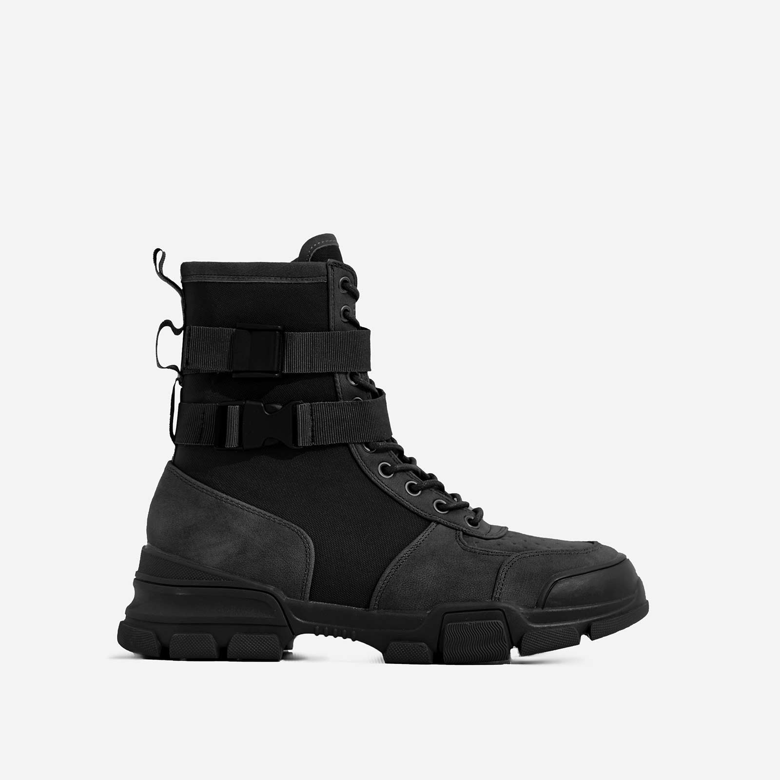 Utility Strap Detail Lace Up Ankle Boot In Black Faux Suede