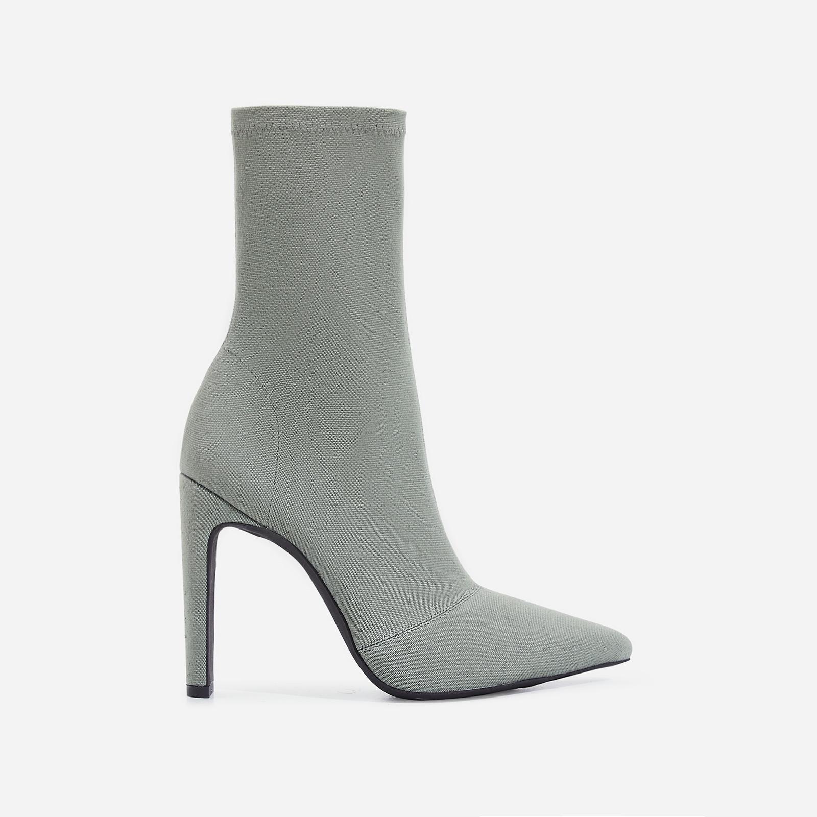 Valencia Thin Block Heel Ankle Sock Boot In Khaki Canvas