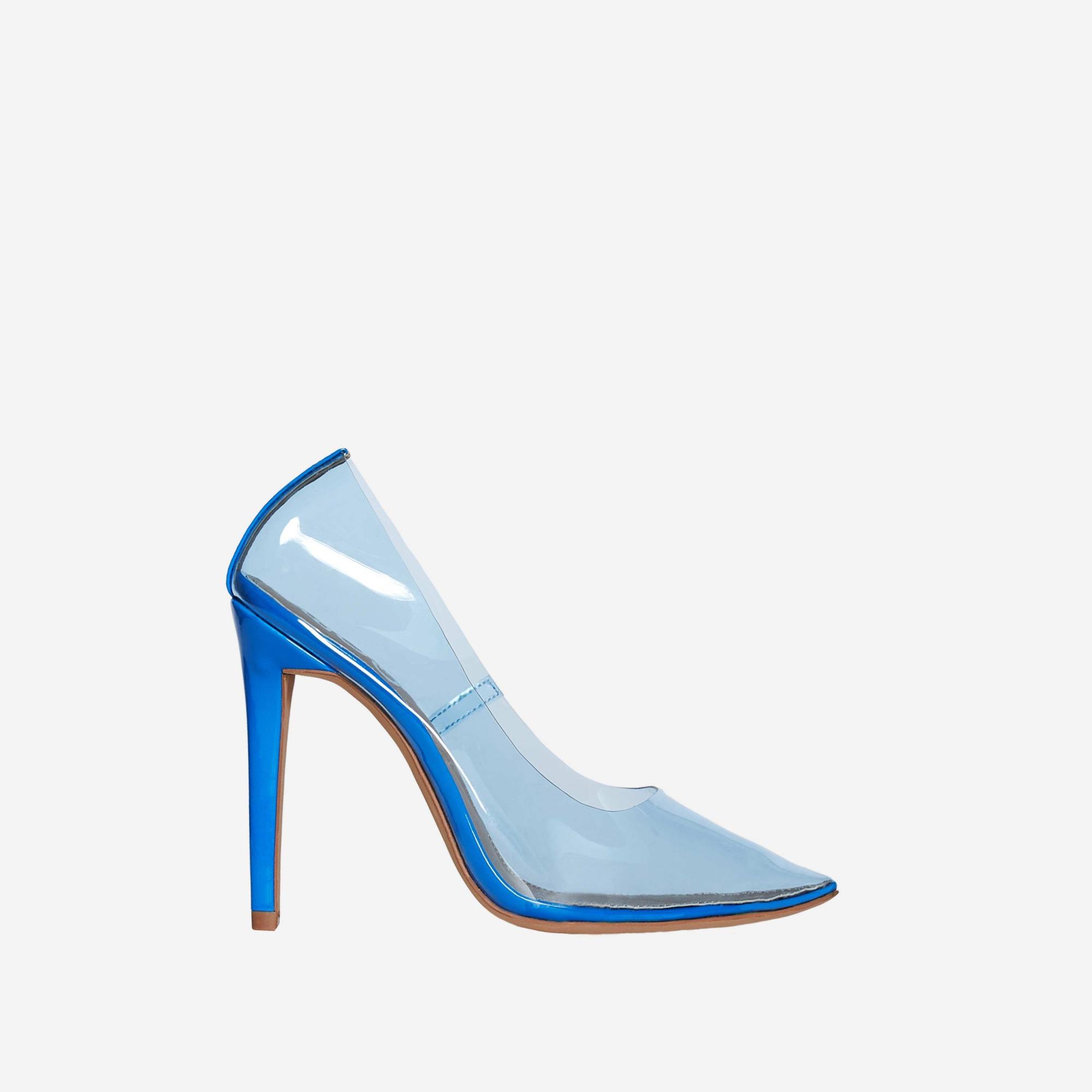 Virginia Perspex Court Heel In Blue Patent