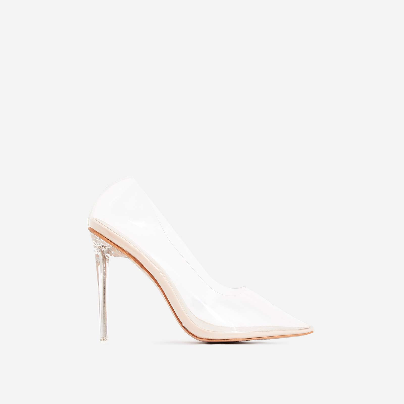 Virginia Clear Perspex Court Heel In Nude Patent