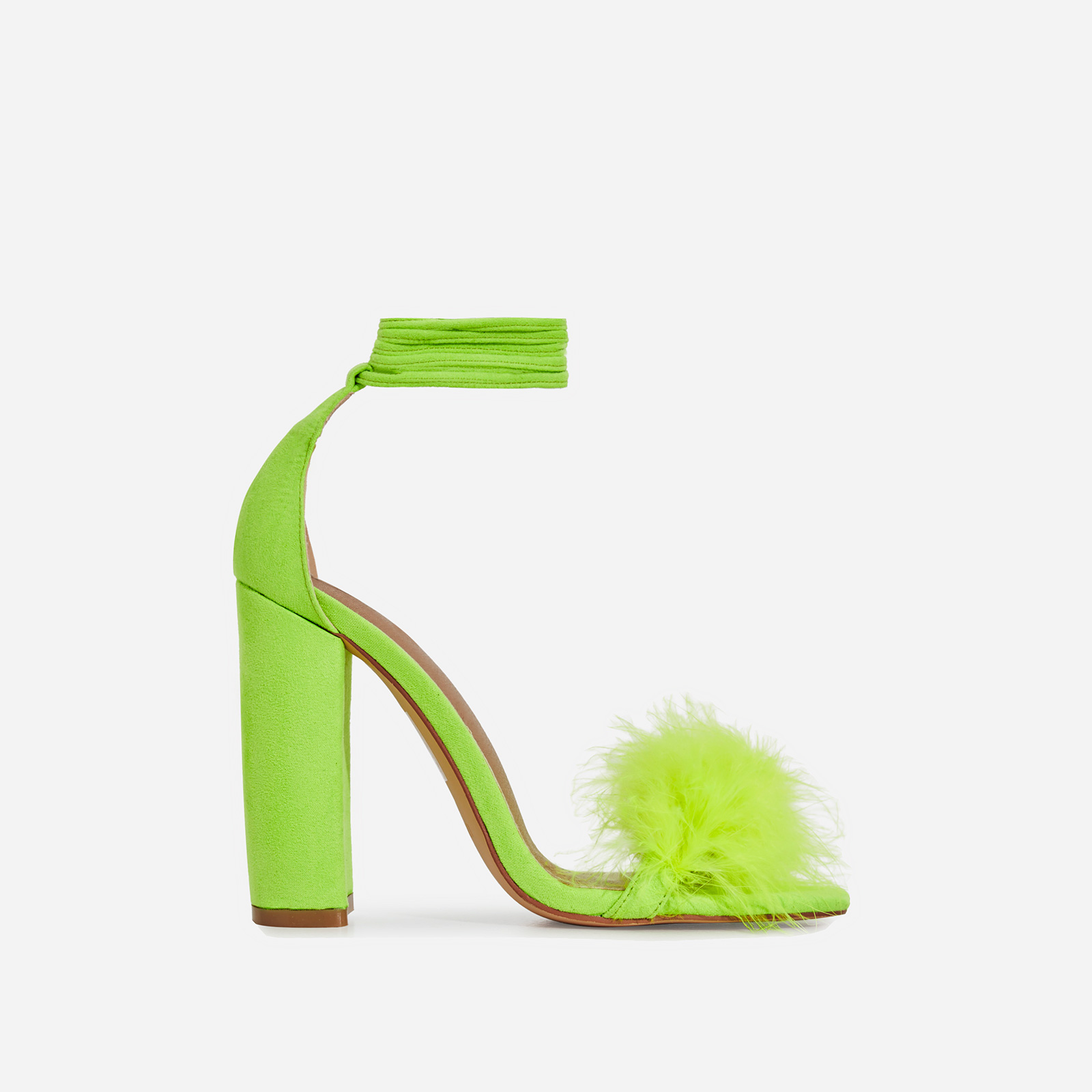 Vision Lace Up Fluffy Heel In Lime Green Faux Suede