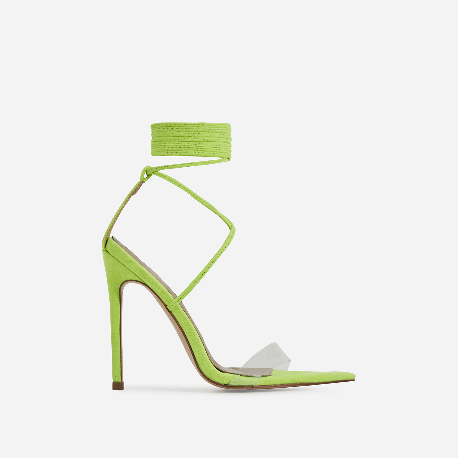 Wavey Lace Up Pointed Perspex Heel In Lime Green Faux Suede