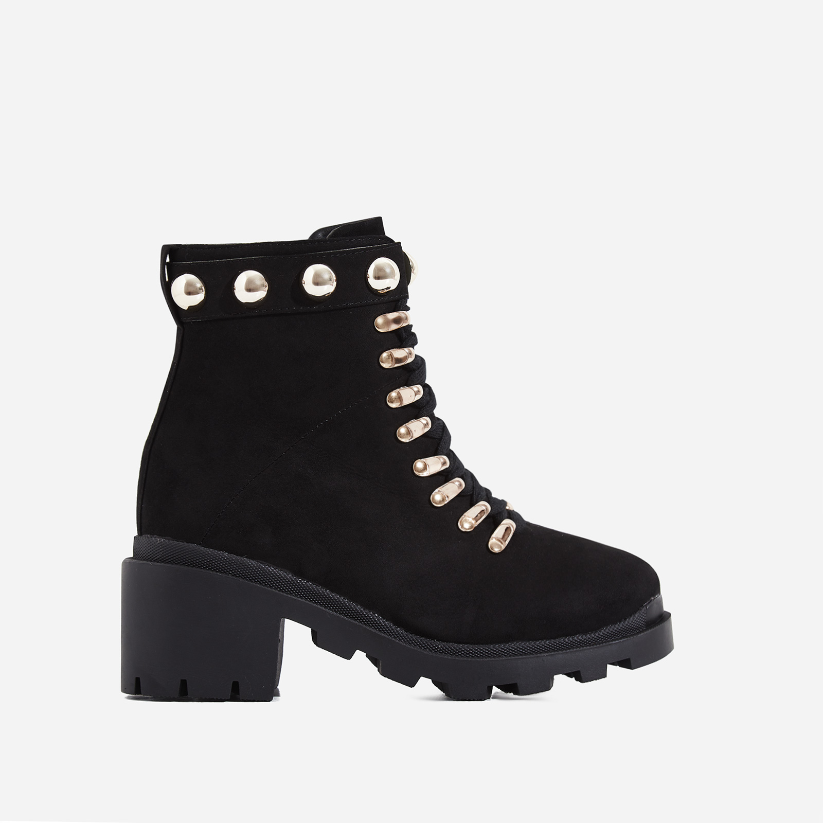 Winky Studded Chunky Sole Lace Up Ankle Biker Boot In Black Faux Suede
