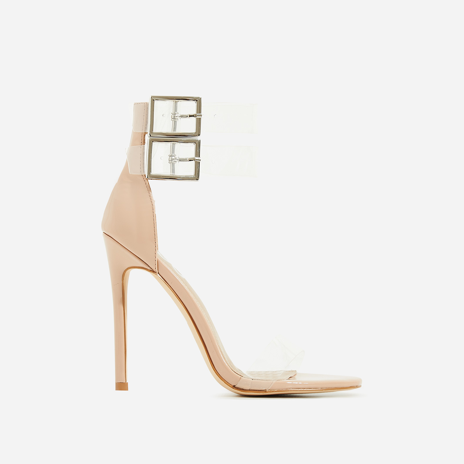 Winnie Double Strap Perspex Barely There Heel In Nude Patent