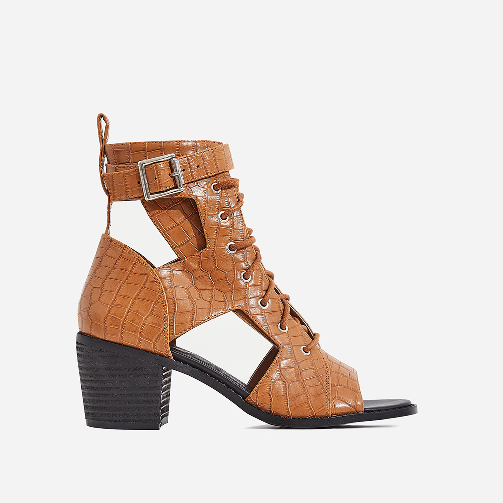 Maria Cut Out Lace Up Ankle Western Boot In Tan Croc Print Faux Leather