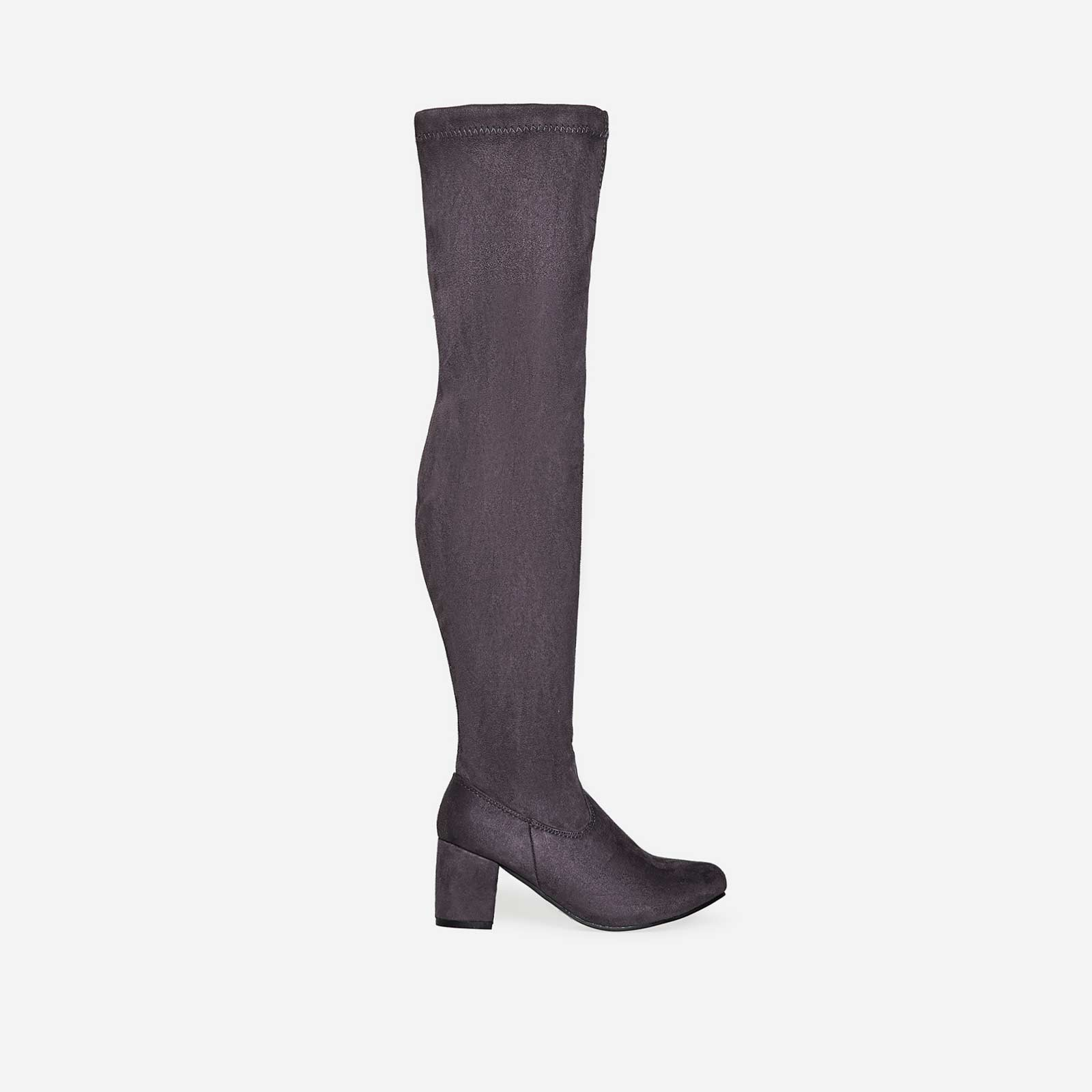 Claudia Over The Knee Long Boot In Grey Faux Suede