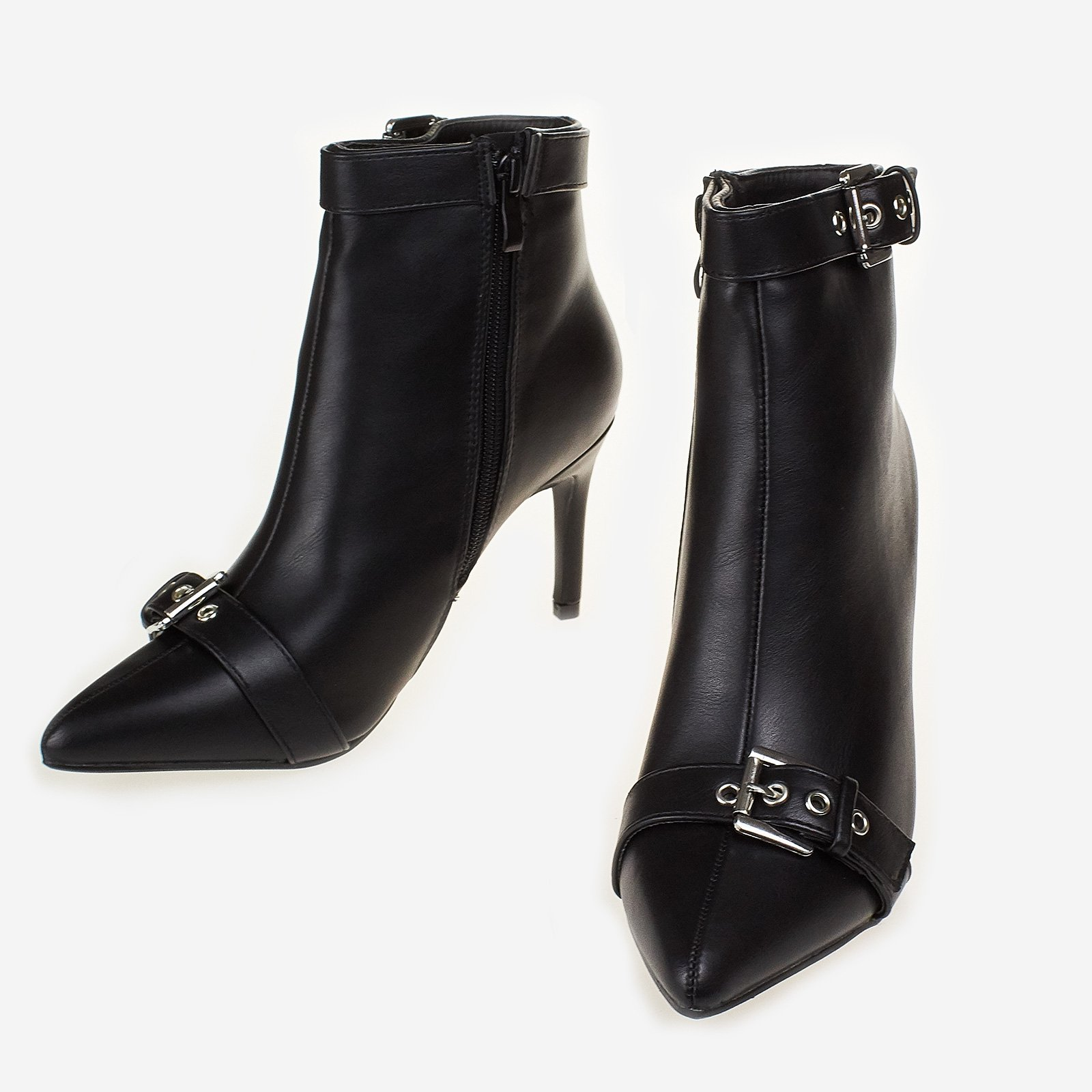 Camillo Buckle Ankle Boot In Black Faux Leather