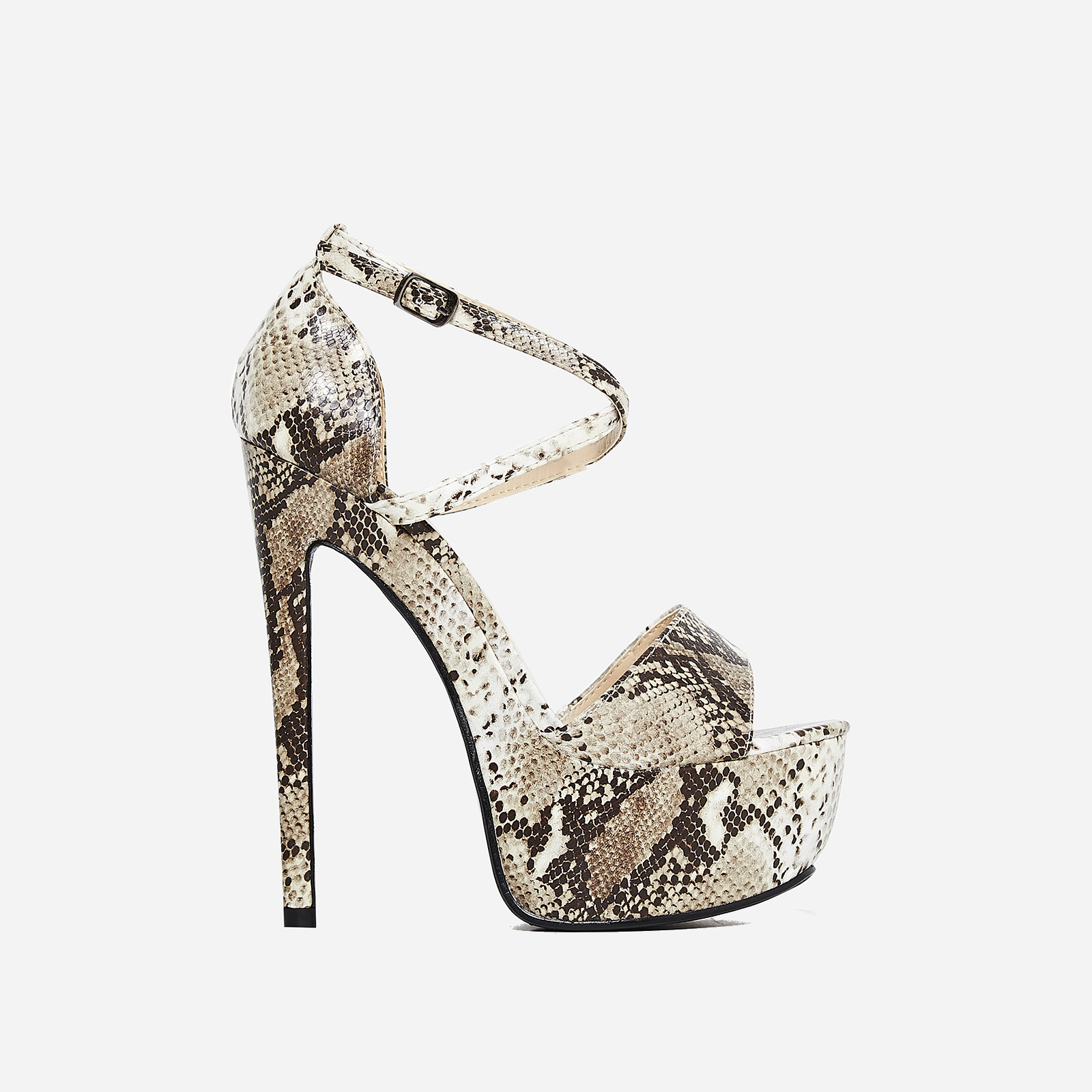Boa Platform Heel In Nude Snake Print Faux Leather