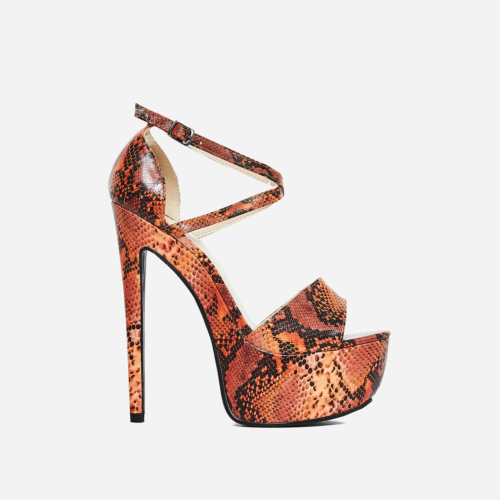 Boa Platform Heel In Orange Snake Print Faux Leather