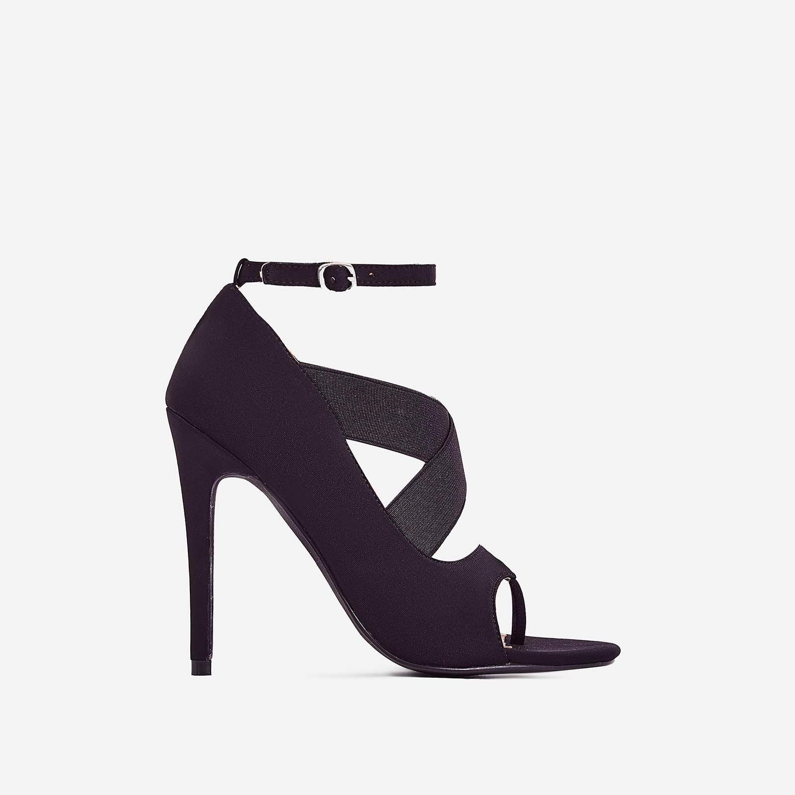 Yara Caged Elasticated Peep Toe Heel In Black Lycra
