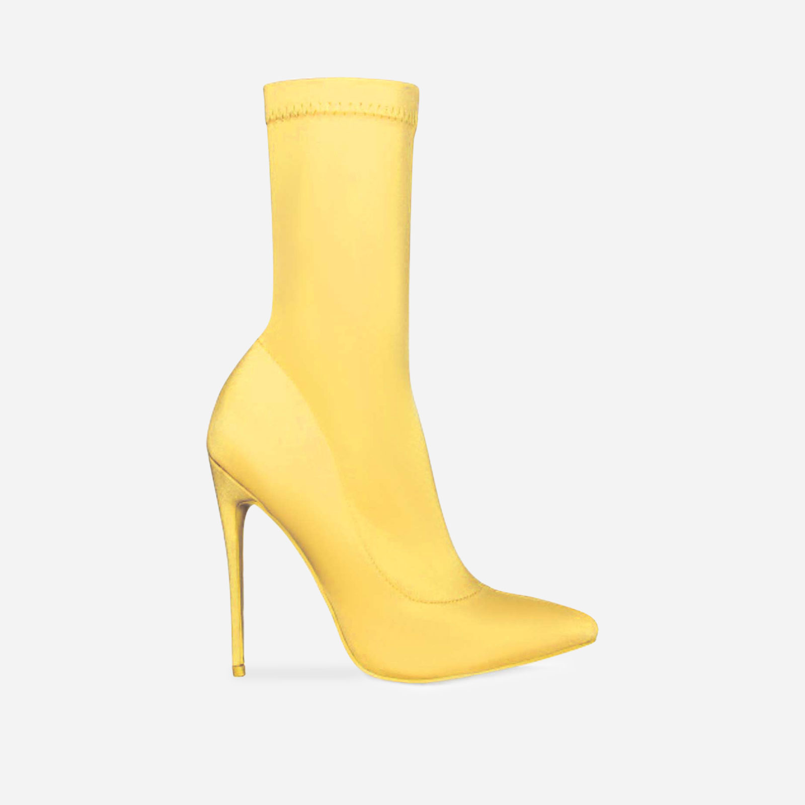 Fiona Pointed Toe Ankle Boot In Yellow Lycra Image 1