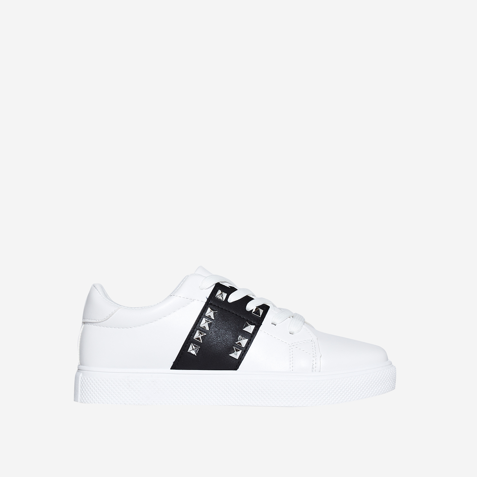 Dexter Studded Detail Black Stripe Trainer In White Faux Leather