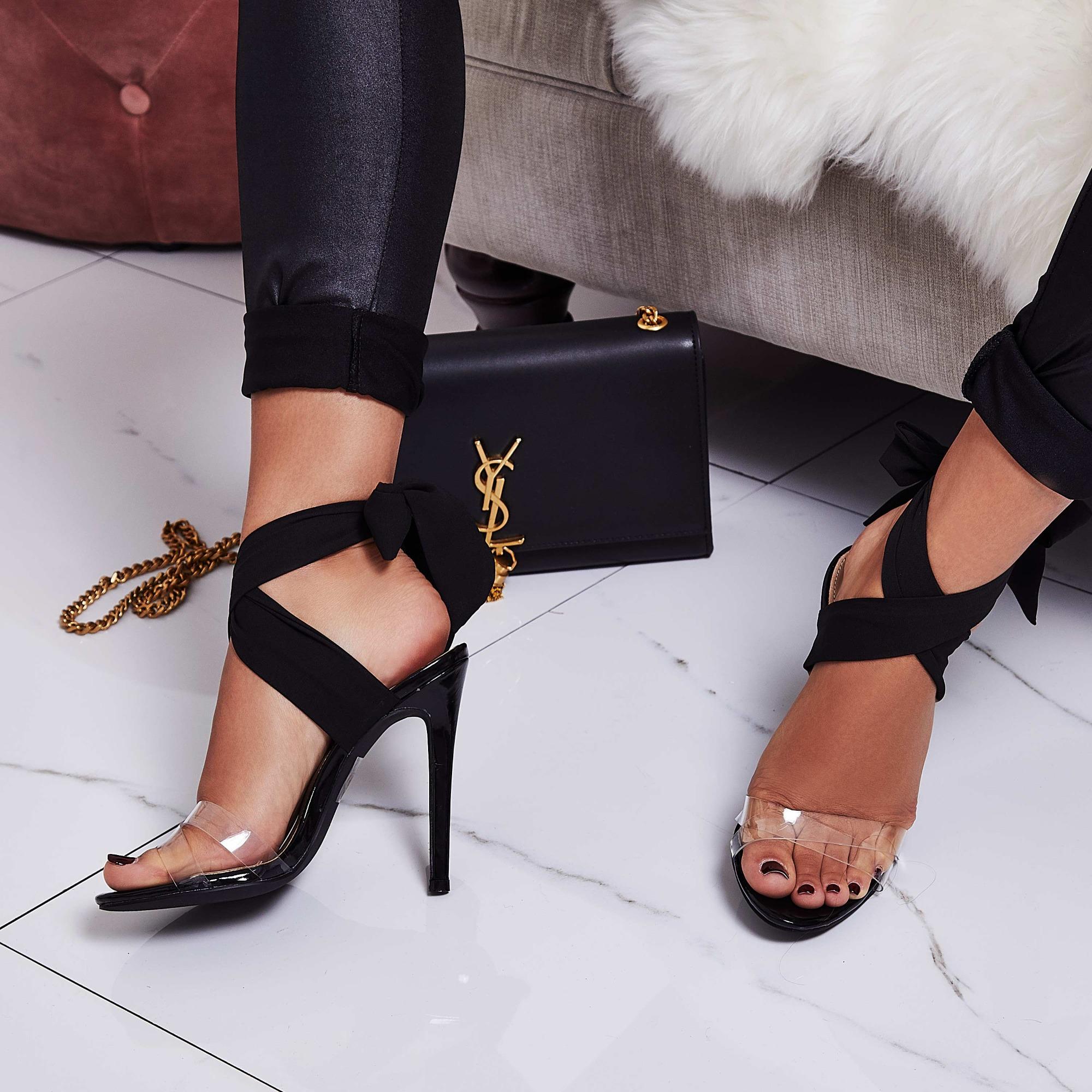 Zabi Ribbon Lace Up Perspex Heel In Black Pat