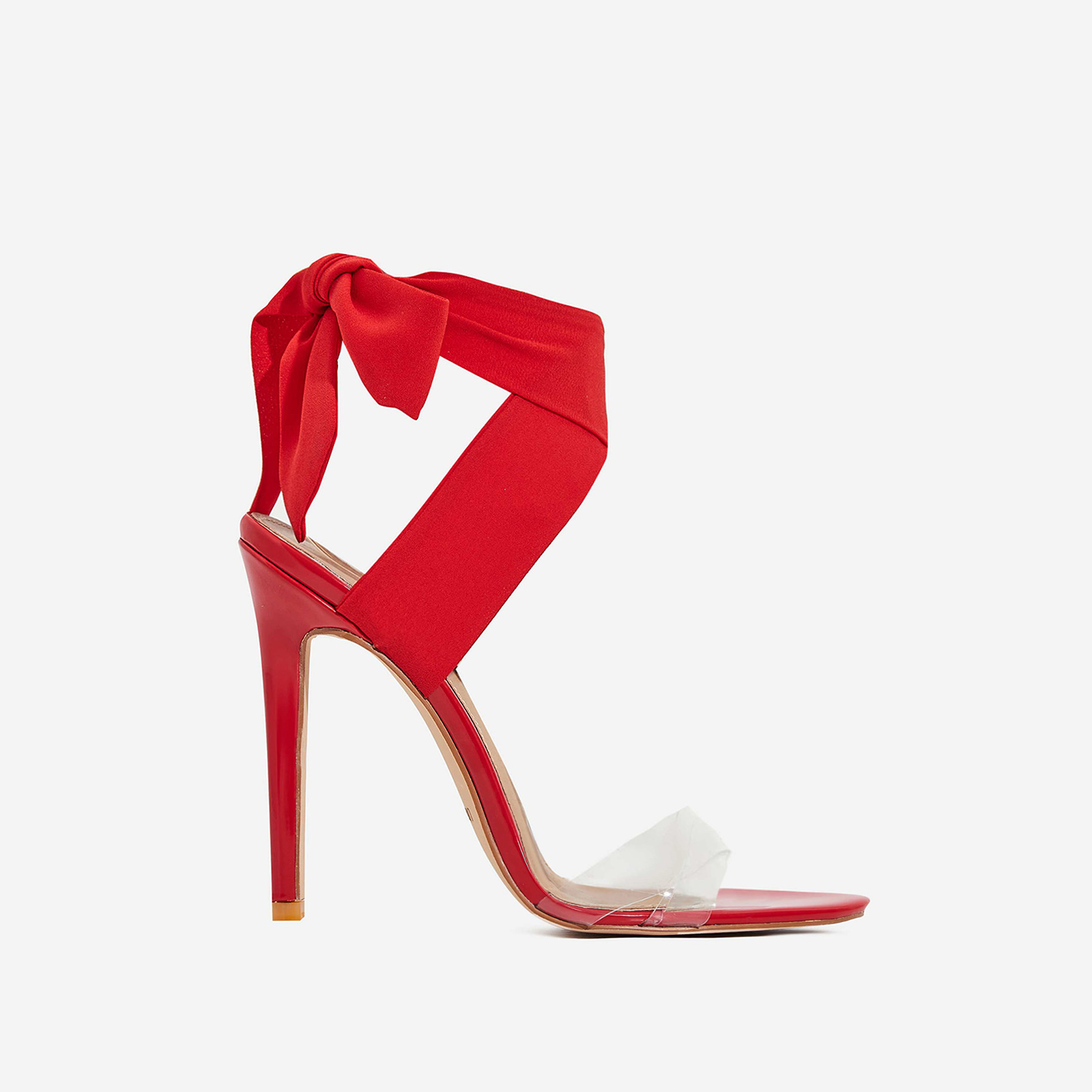 Zabi Ribbon Lace Up Perspex Heel In Red Pat