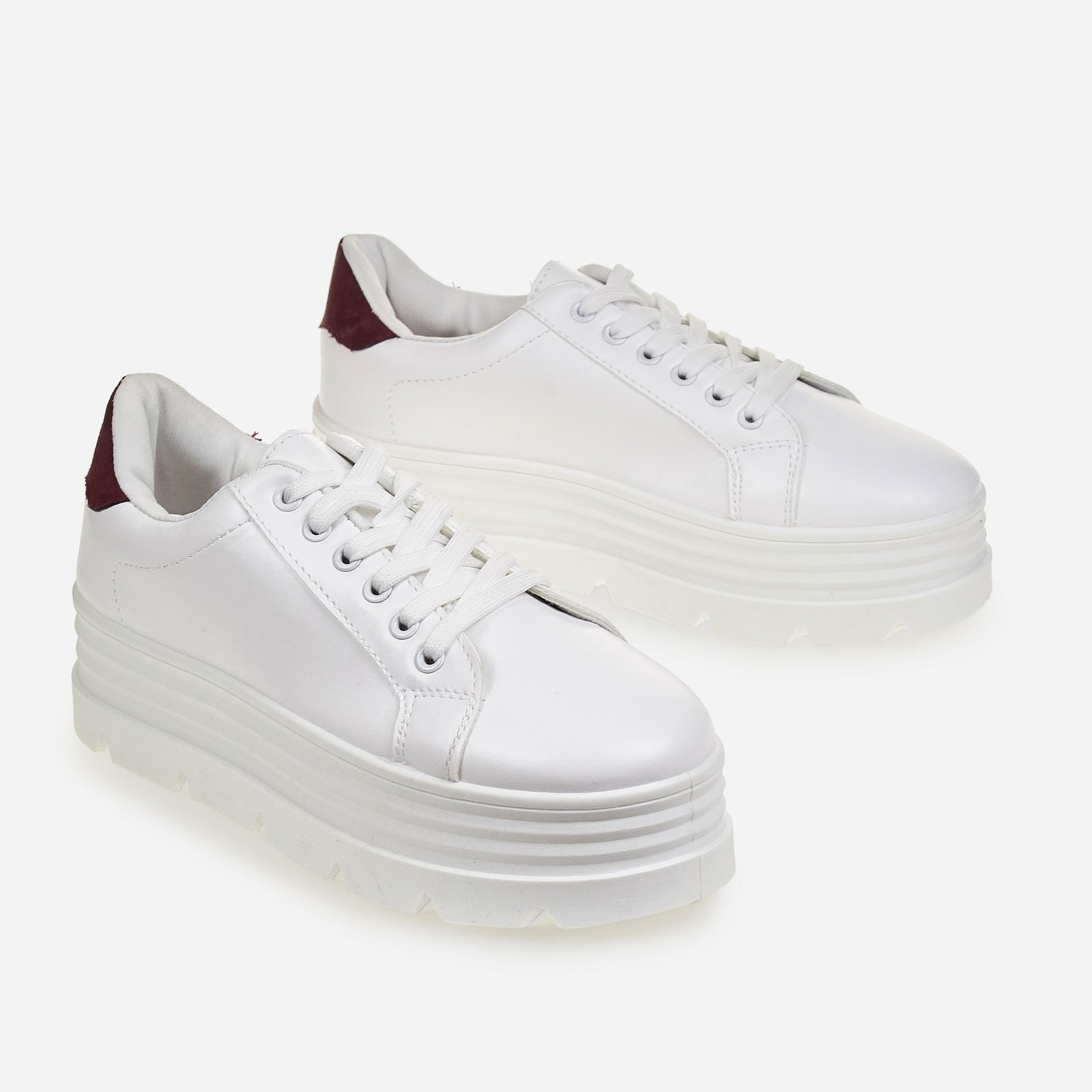Fierce Burgundy Heel Tab Platform Trainer In White Faux Leather
