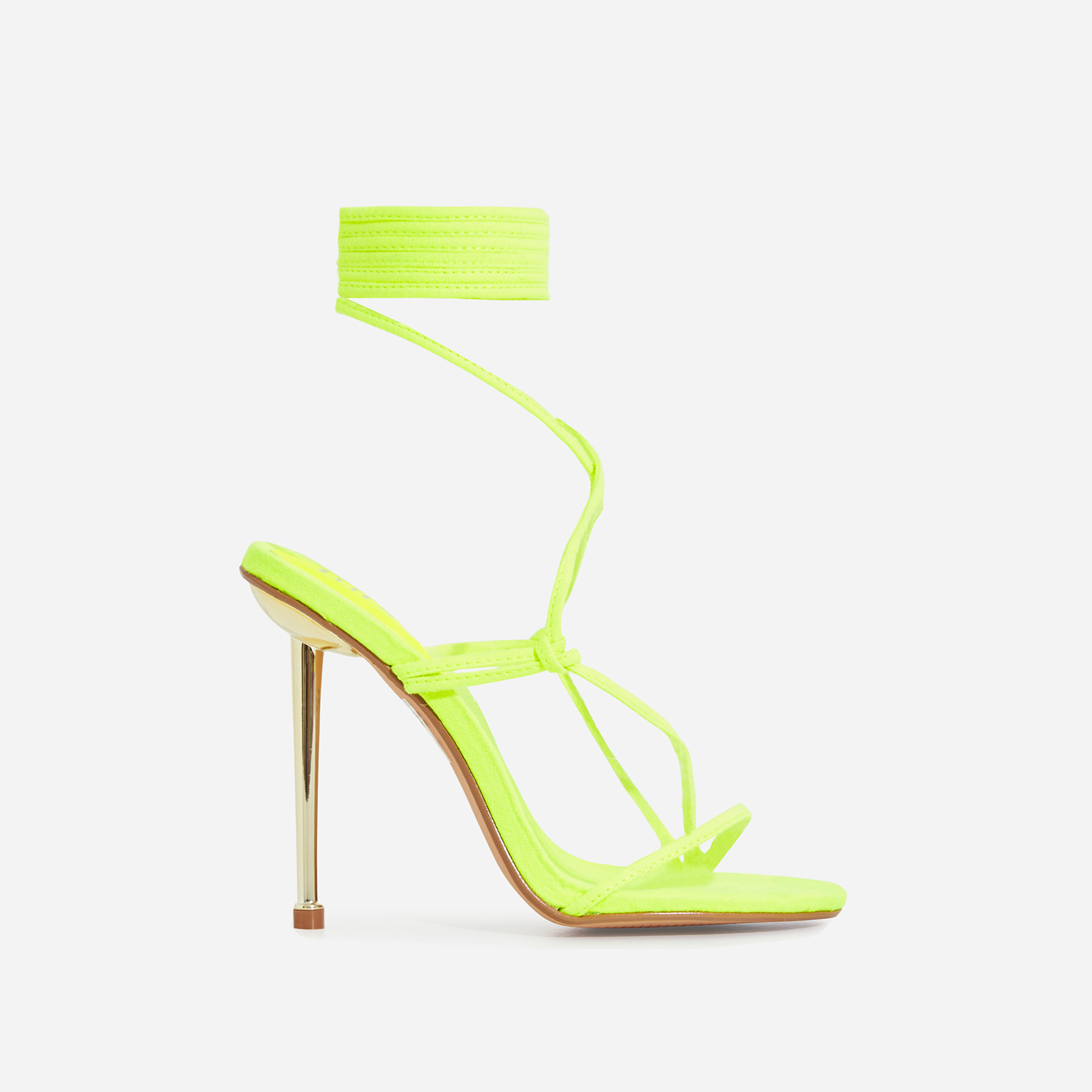 Zizi Lace Up Heel In Neon Yellow Faux Suede