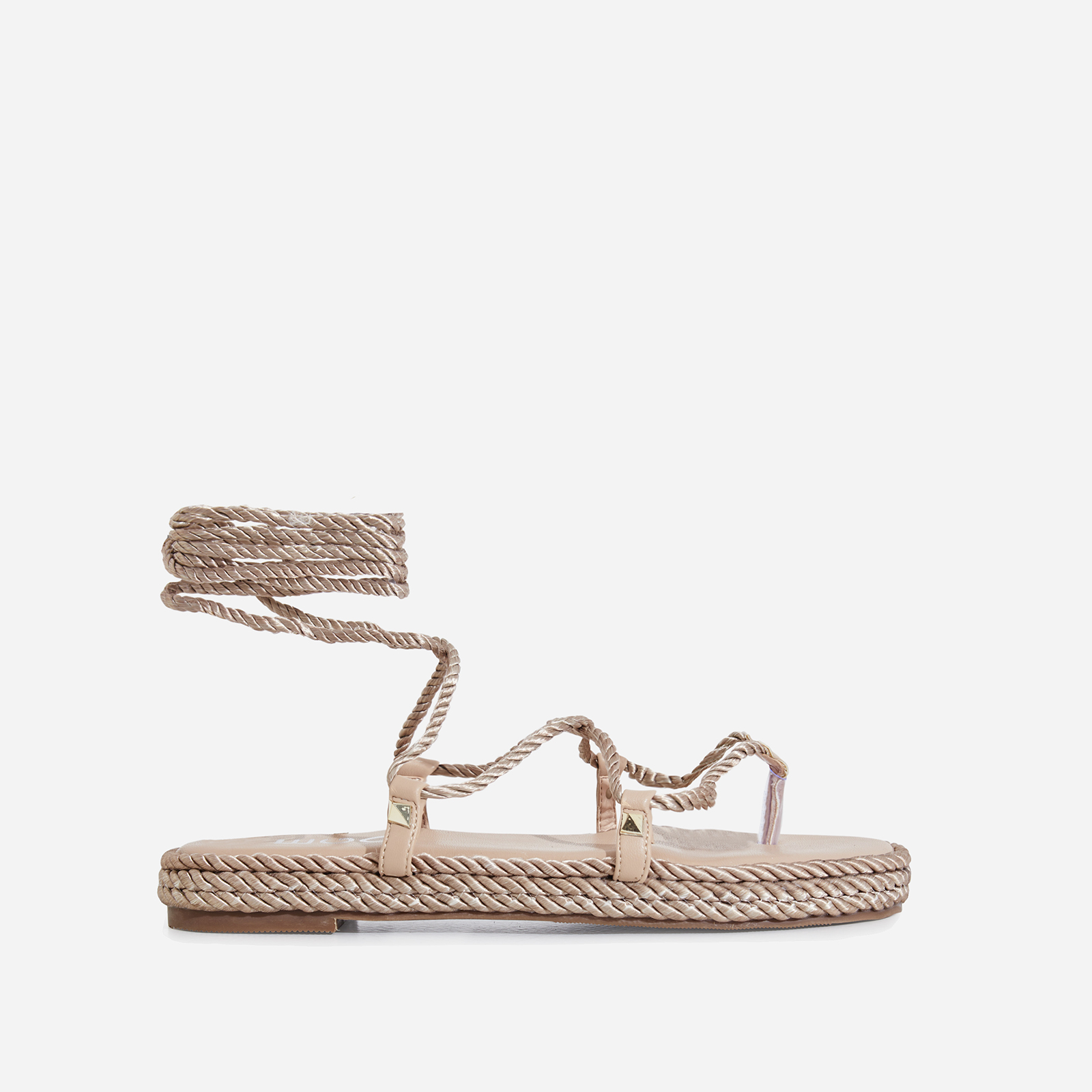 Zoe Lace Up Rope Espadrille Sandal In Nude Faux Leather