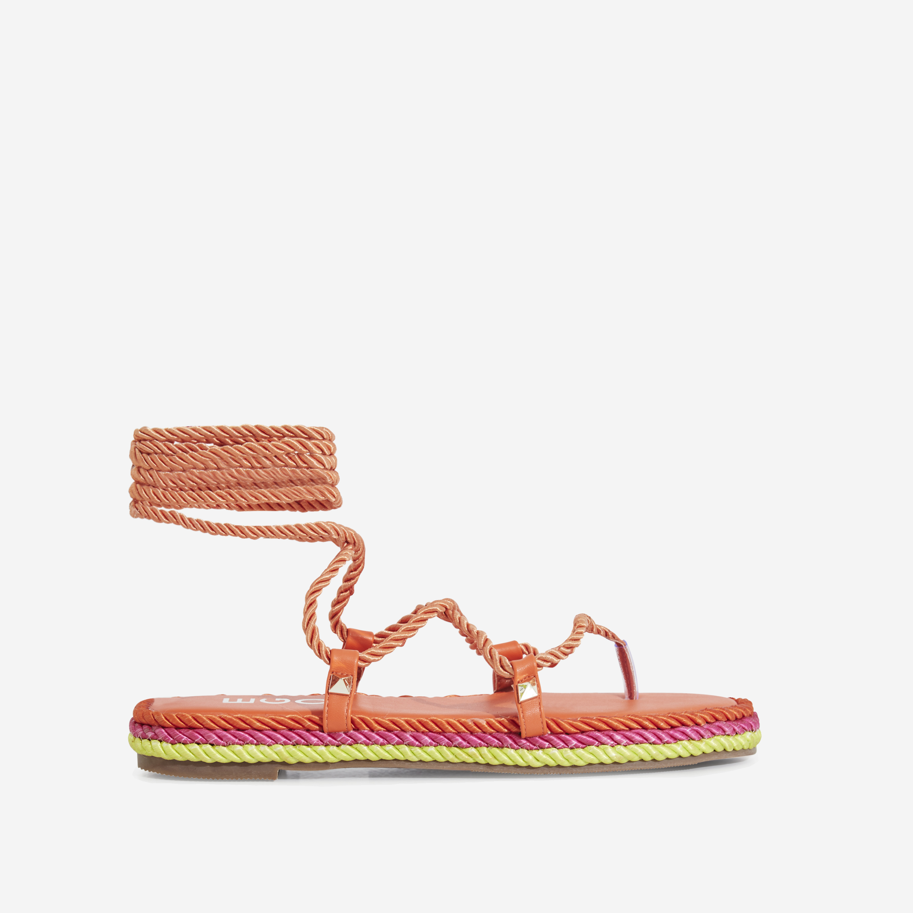 Zoe Lace Up Rope Espadrille Sandal In Orange Faux Leather