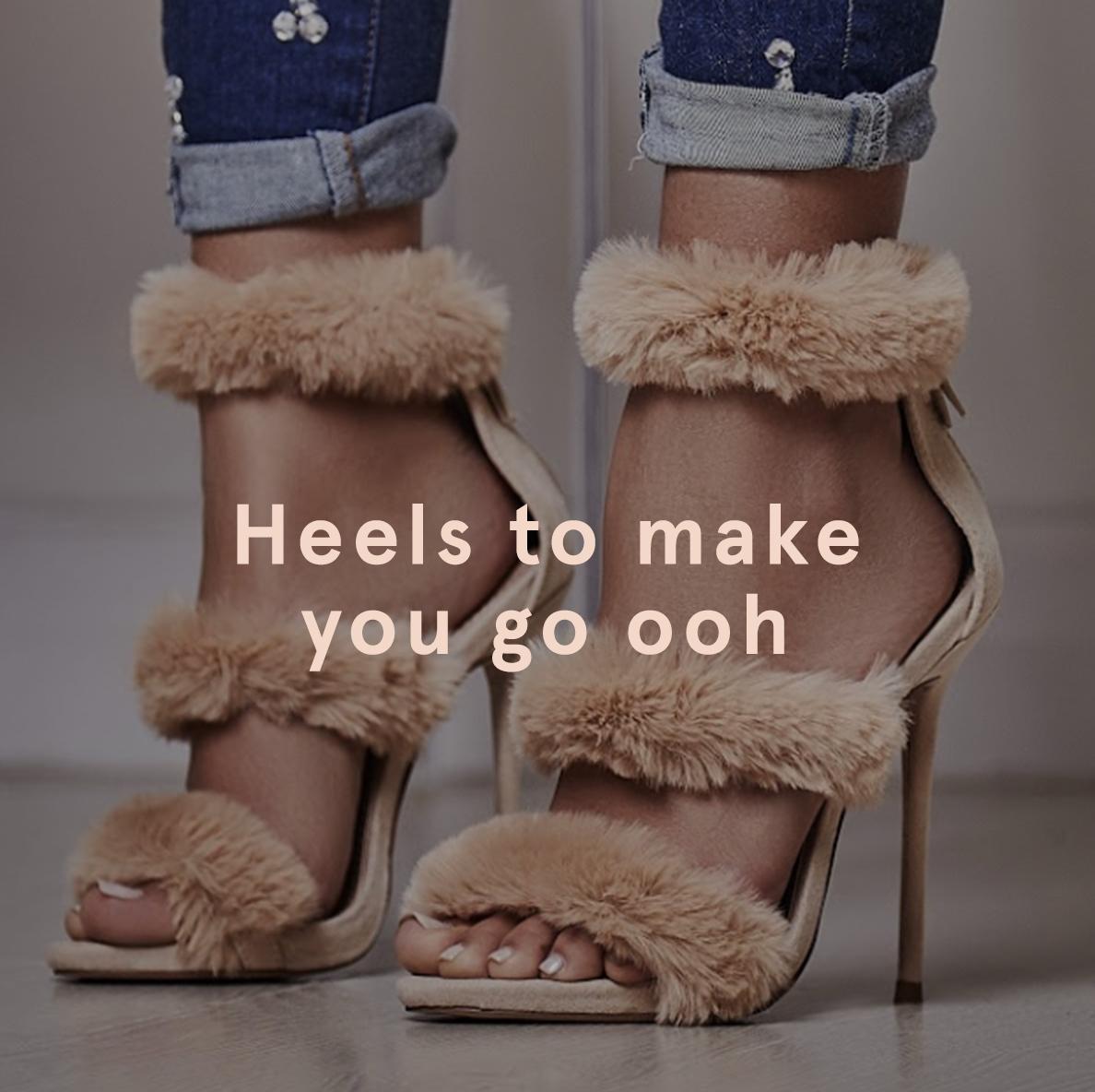 Heels to Make You Go Ooh Ego Hadea Fluffy Heel in Nude Faux Suede £34.99